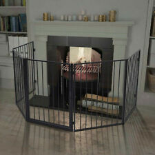 Pet Fireplace Fence with Swing Gate Door Safety Barrier Dog Cat Black