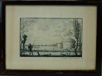 Landscape with Fishermen 1912 dat Original Etching from Willi Münch 1885-1960