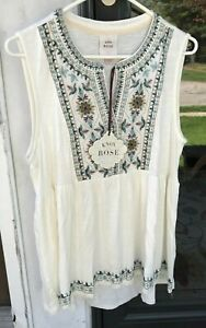 Knox Rose sz L Embroidered Flowy Ivory Sleeveless Blouse Top New $23 Target *H