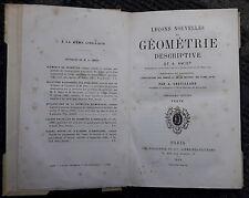 GEOMETRIA AMIOT TAVOLE TESTO E TAVOLE 2 VOLUMI IN UNO 1869 MEZZA PERGAMENA