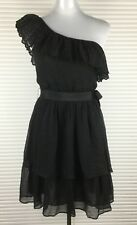 WITCHERY Womens Dress 100% Sillk Ruffles One Shoulder Tiered Skirt Tie Belt Sz 8