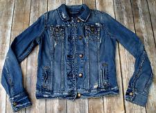 Abercrombie & Fitch distressed denim jean jacket M womens boys unisex M