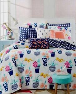 Martha Stewart Collection Flowerbed Standard Sham Indigo 100% Cotton NEW
