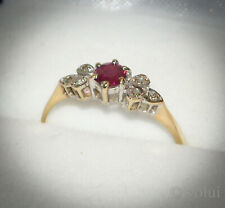 Beautiful 9ct Gold Ruby and Diamond Ring Size M.5