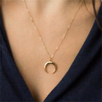 Gold moon layered necklace crescent Moon Wicca horn pendant jewelry for women
