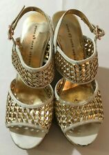 MARC By Marc Jacobs Wedge Sandals Espadrilles White/Gold Women's Size 8.5