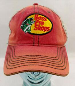 Bass Pro Shops Baseball Fishing Hat Cap Flex Mesh Trucker Rusty Red Brown Adult