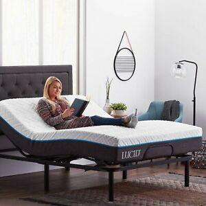 Lucid Basic Remote Controlled Adjustable Bed Base - Heavy Duty Steel Multi Posit