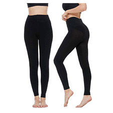 LADIES THICK THERMAL FLEECE LINED FOOTLESS LEGGINGS WINTER HIGH WAISTED