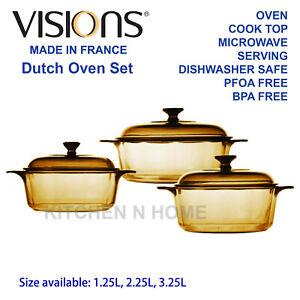 Visions Glass Dutch Oven, Casserole, Cook Pot, Glass Cookware, Made in France