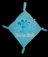 Doudou carré plat bleu turquoise Mickey et Pluto HUG ME 4 noeuds