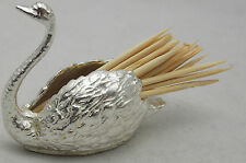 HALLMARKED STERLING SILVER SWAN TOOTHPICK HOLDER
