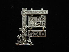 """Real Estate 'For Sale' Pin """"Jj"""" Jonette Jewelry Silver Pewter Small"""