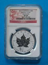 CANADA - 2012 Silver Maple Leaf with Lunar Dragon Privy Mark (NGC SP69)