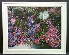 Garden Paradise Flowers Butterfly Landscape 24x20 Original Oil Painting Framed