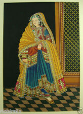 Royal Queen portrait painting india Water Colour Handmade Art Palace Fort lady