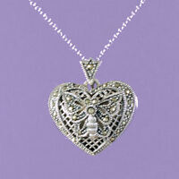 "925 Sterling Silver ""Heart Locket with Marcasite""  18""/20"" Pendant A423"