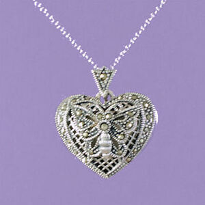 """925 Sterling Silver """"Heart Locket with Marcasite""""  18""""/20"""" Pendant A423"""