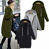 Plus Size Winter Womens Zip Up Open Hooded Hoodies Long Sleeve Coat Tops Jacket