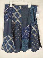 CHAPS Denim Skirt 4 Blue   Cotton Fitted Waist Zipper NWT $70.00 retaill