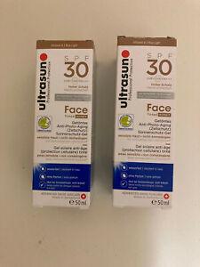 2 X ULTRASUN FACE SPF 30 TINTED HONEY NEW IN BOX 50ML X2 BNIB