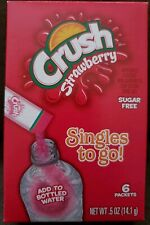 Lot (3) Boxes Crush Strawberry Singles To Go Drink Mix,  18 Packets Total