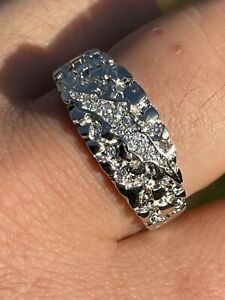 Mens REAL Solid 925 Sterling Silver Nugget Band Ring W. Iced Diamond Claw Mark