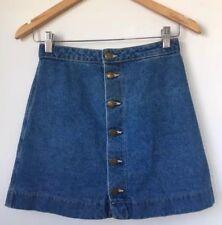 American Apparel Denim Jean Button Down Front A-Line Skirt Dark Wash Indigo XS