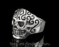 SIZE 13 Hallmark 925 Sterling Silver New Motorcycles BIKER Skull Men Ring R-238