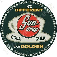 SUN-DROP COLA 11.75in ROUND METAL SIGN