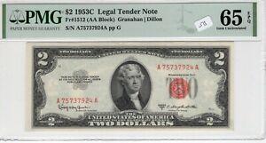 $2 1953C FRN Fr# 1512 AA Block PMG UNC Gem 65 EPQ Granahan Dillon