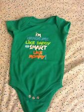 faded glory boy 0-3mo cotton blend solid green short sleeve everyday onesie