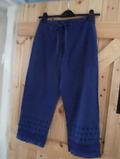 """Navy Summer Cotton Trousers Size 10 Waist 28"""" L24"""" Embroidered Hem Detail"""