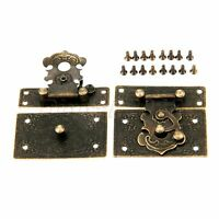 Classic Antique Wood Jewelry Box Case Chest Rectangle Clasp Hasps Latch Bronze