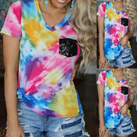 ️Women V Neck Short Sleeve T Shirt Ladies Tie Dye Casual Loose Tunic Top Blouse