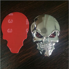 1PC 3D Metal Silver Skull Crossbones Car Sticker Window Styling Decal Chrome new