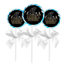 "24 Black Panther Birthday Party Favors Personalized 1.65"" Lollipop Stickers"