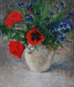 Original Ölgemälde alt antik Impressionismus Romantik Stillleben Blumen ~1900
