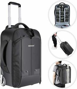 2-in-1 Trolley Backpack Convertible Wheeled Camera Luggage Case large + rem comp