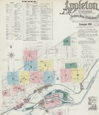Appleton, Wisconsin~Sanborn Map© sheets~ 16 high resolution color~ on Cd~1886