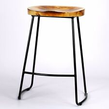 Retro Vintage Wooden Top Kitchen Pub Bar Metal Stool Industrial Tractor Style