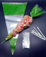 """250 - GREEN Cone Cellophane Sweet / Party Bags With 4"""" Silver Twist Ties"""