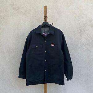 Vintage Ben Davis Blanket Lined Snap Front Black Chore Coat Men's Large