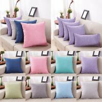 Cotton Linen Pillow Case Sofa Waist Throw Cushion Solid Cover Home Room Decor