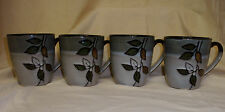Lot 4 MINT Pfaltzgraff Rustic Leaves Large Coffee Tea Mug Cup 12 oz Brown Green