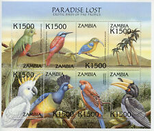 Zambia 2000 MNH Exotic Birds Paradise Lost 8v M/S III Quetzal Sunbirds Stamps