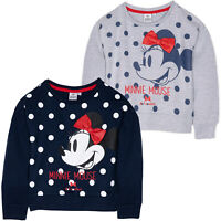 Disney Minnie Mouse Girls Jumper Warm 100% COTTON Sweatshirt with Bow 2-8 Yrs