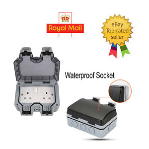 13 a2 gang waterproof outdoor storm switched socket double ip66 outside use