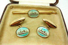 VINTAGE 40'S NAUTICAL SHIP PICTURE MENS CUFFLINKS WITH MATCHING TIE PIN