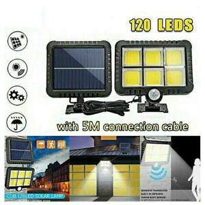 120 LED Solar Powered PIR Motion Sensor Garden Wall Outdoor Flood Security R3H7